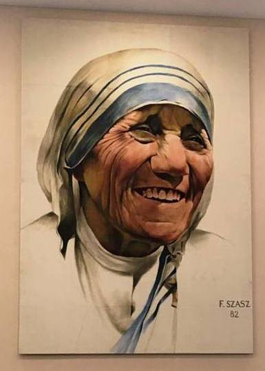 Painting of Mother Teresa by Frank Szasz in Greenlease Library