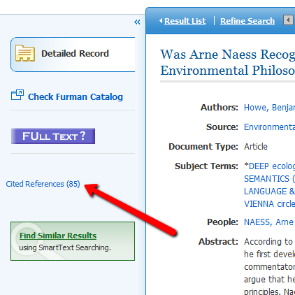 Cited References Link in an EBSCO database