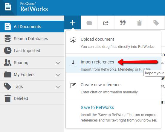 RefWorks Import Link under References