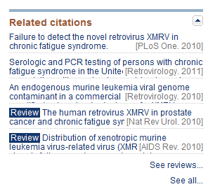 Related Citations list example from PubMed