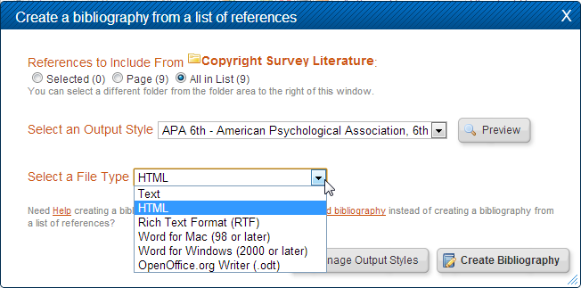 RefWorks Bibliography formatting options