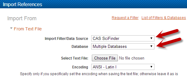 SciFinder Import into Refworks Settings