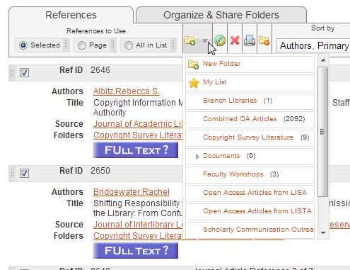 RefWorks Folder Dropdown Image