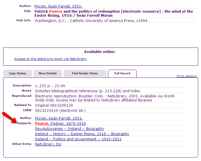 Example from library catalog