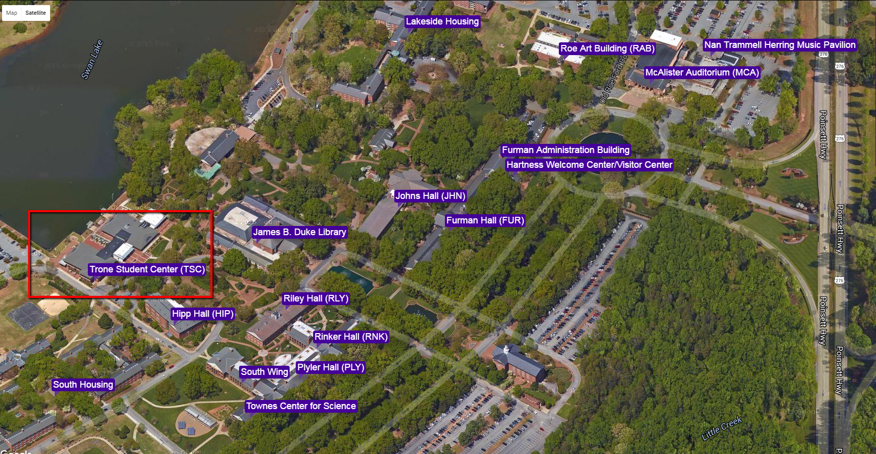 furman university campus map Where Is The Watkins Room Libanswers furman university campus map