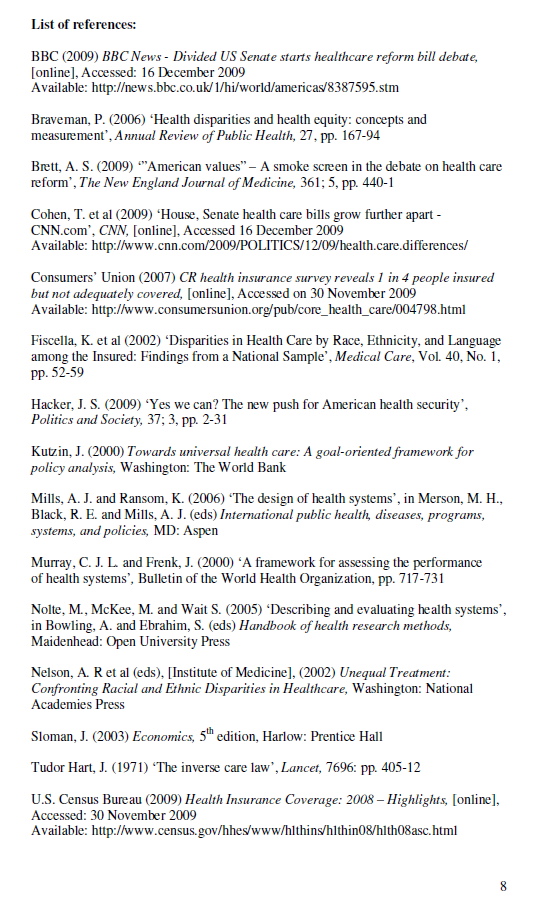 Example of Harvard References List