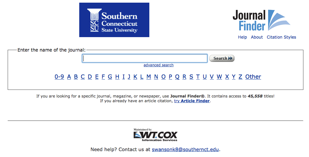 Screenshot of Buley Library's Journal Finder search interface
