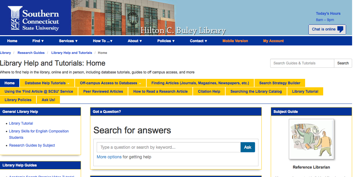 Screenshot of Buley Library Library Help page