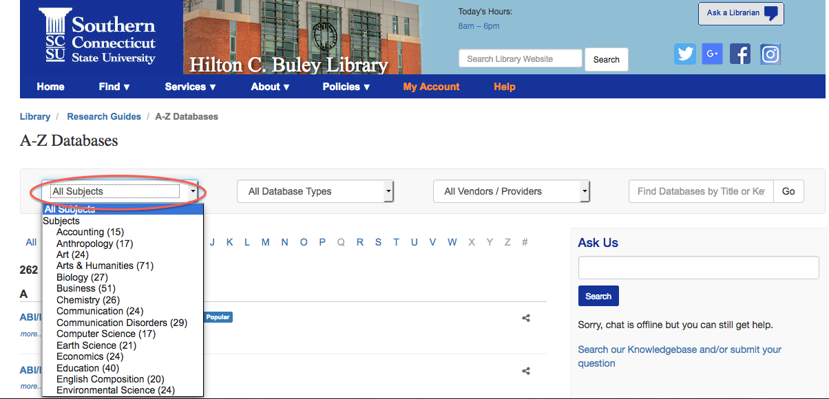 Screenshot of Databases A-Z page with subject menu circled for emphasis.