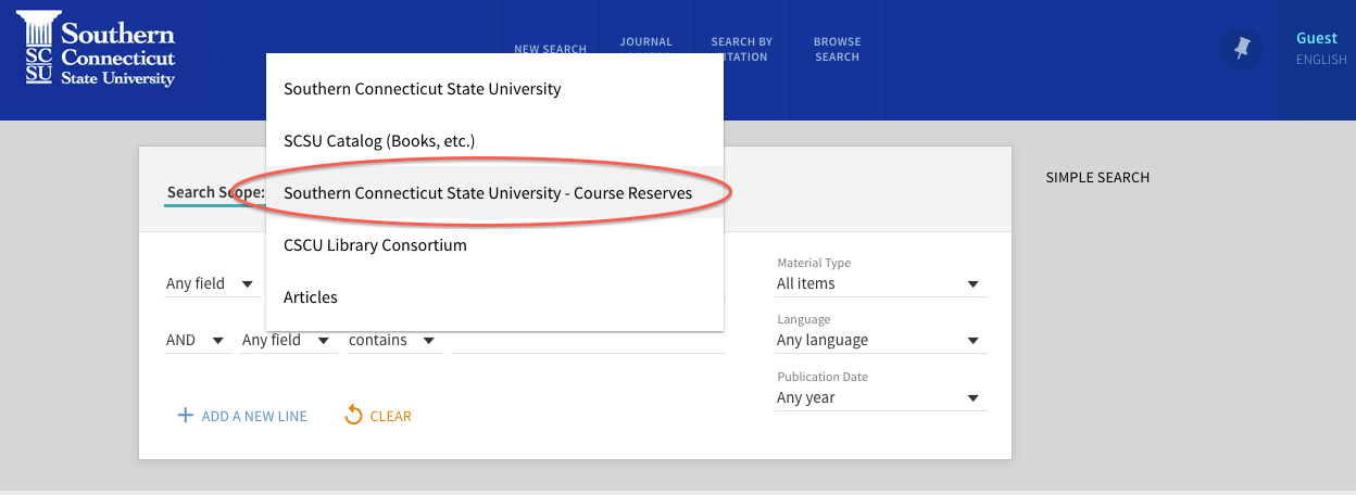 Screenshot of the course reserves search under Advanced Search on SouthernSearch.