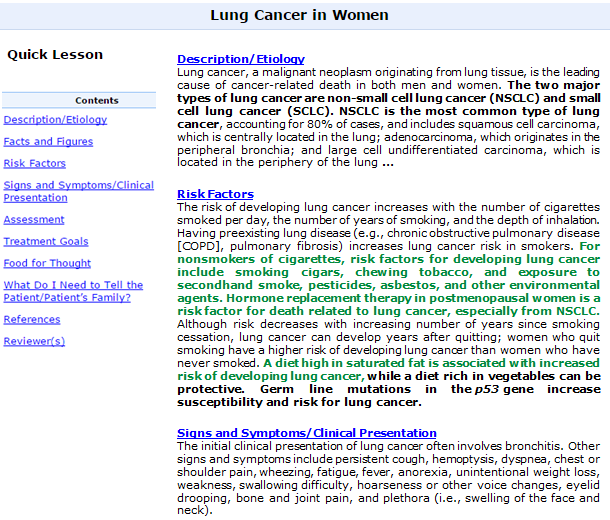 Nursing Reference Center Lung Cancer Search Result