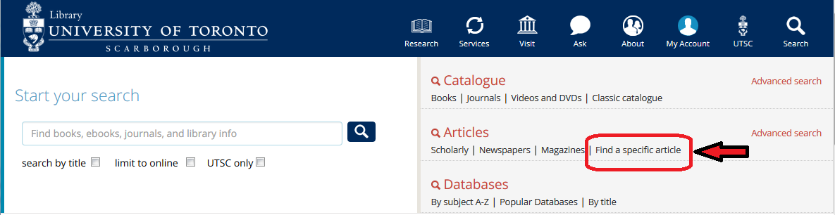 Screenshot of where to find Article Finder on the new UTSC Website