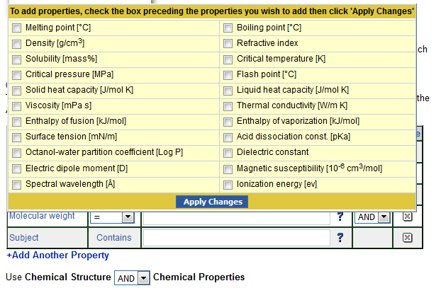 Screenshot of the additional properties you can search by in the CRC handbook