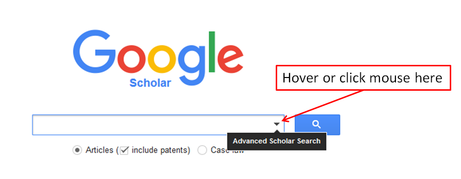 Screen shot of how to acess the advanced search functionality in Google scholar