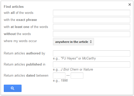 Screen shot of Google Scholar advanced search options