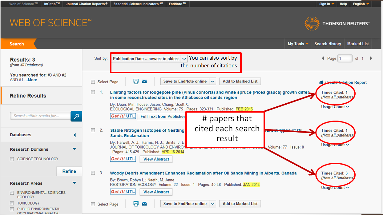 Screen shot showing where the number of citations can be found and where to change the sorting to sort by number of citations