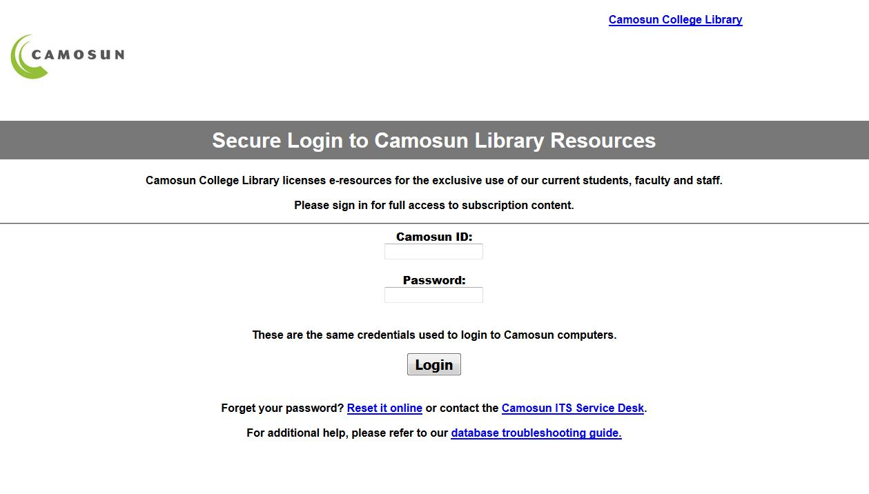 Screenshot of secure login to Camosun Library