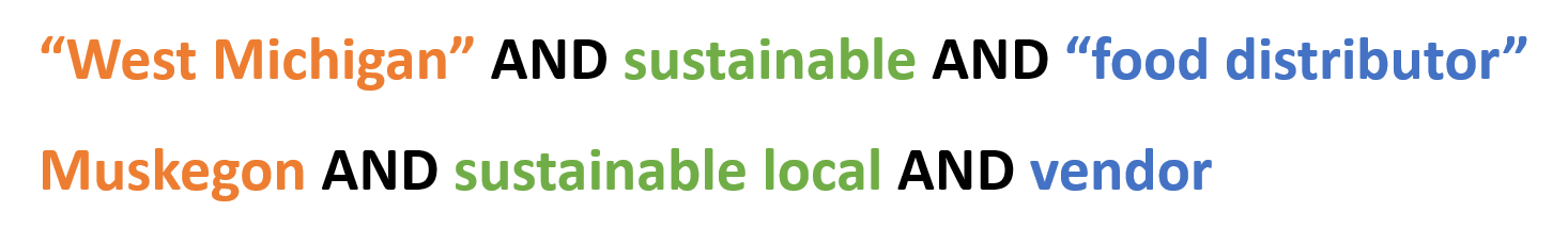 "Example searches include: ""west michigan"" AND sustainable AND ""food distributor"", Muskegon AND sustainable local AND vendor"