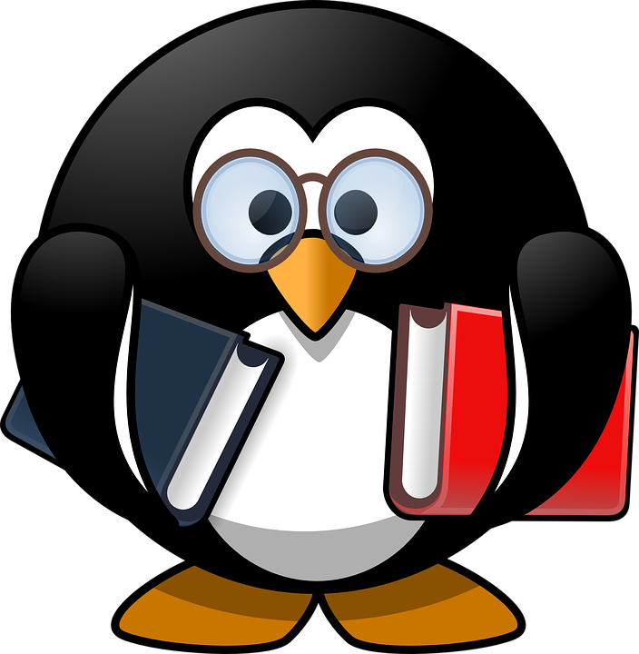 cartoon penguin holding books