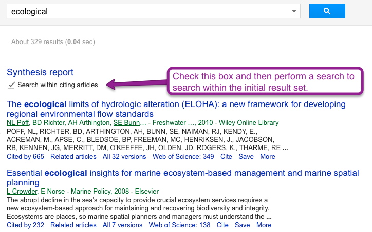 once you have clicked on either cited by x or related articles you can search through the resulting articles by checking the search within citing
