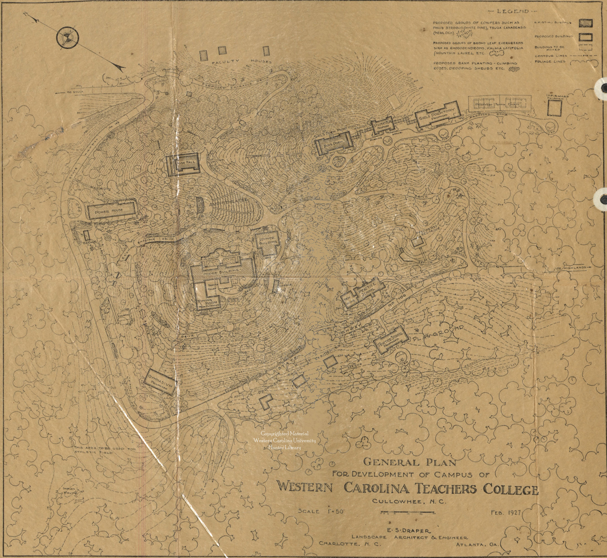 Campus map showing Cherokee mound.