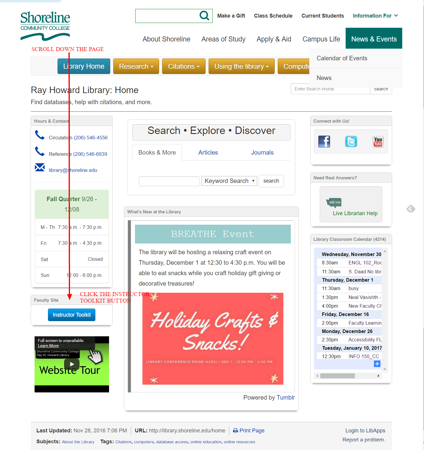 example homepage with arrow pointing to instructors toolkit button