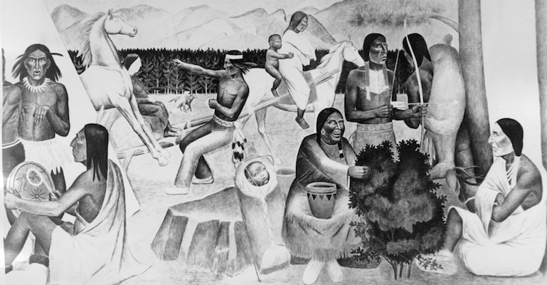Murals of Native Americans at Pendleton High School, Oregon