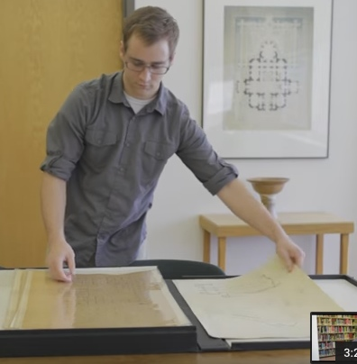 Student using rare book