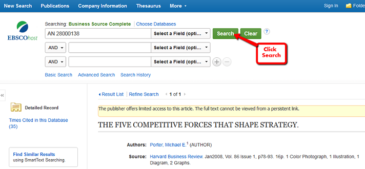EbscoHost Search Box with AN number of Harvard Business Review Article