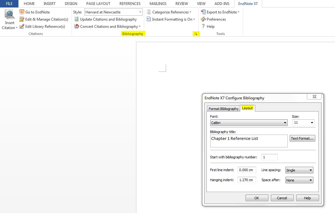 Screenshot of where to click in Word to bring formatting box up