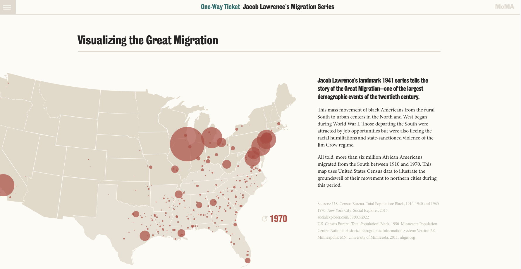 Museum of Modern Art's Visualizing the Great Migration screenshot