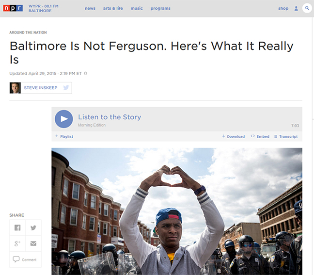 Podcasts: Baltimore Is Not Ferguson. Here's What It Really Is. WYPR NPR.