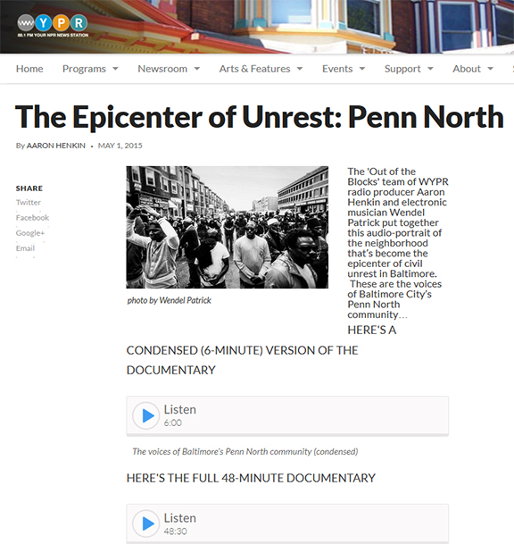 The Epicenter of Unrest: Penn North, WYPR