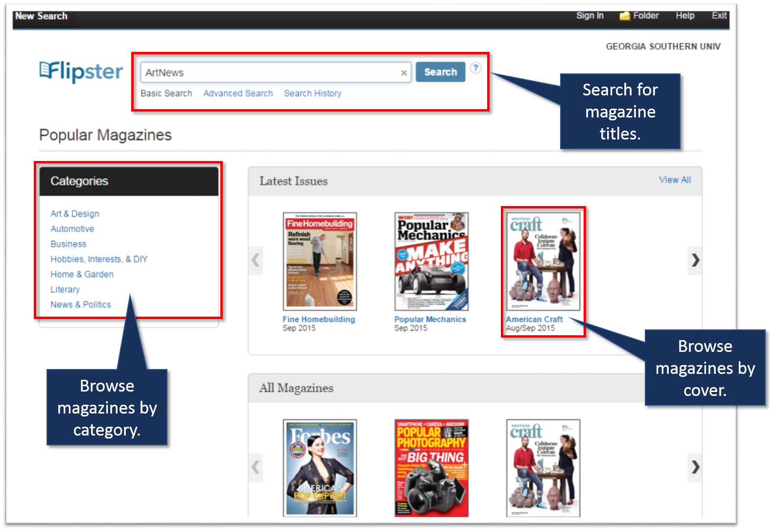 Image of Flipster basic search page with callouts of title search and browse features.