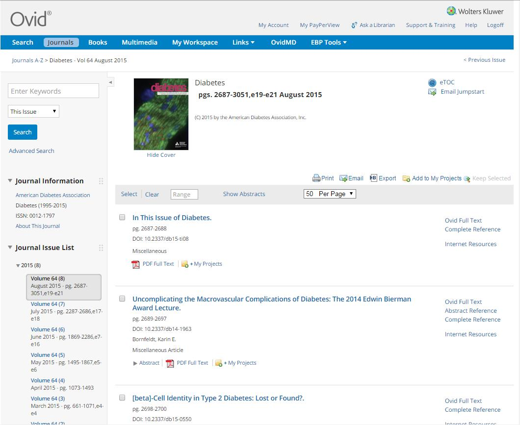 New Ovid Journal Listings View