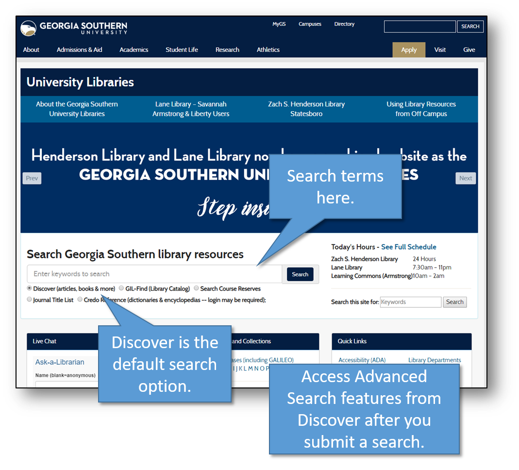 Discover Homepage Search Box with Callouts