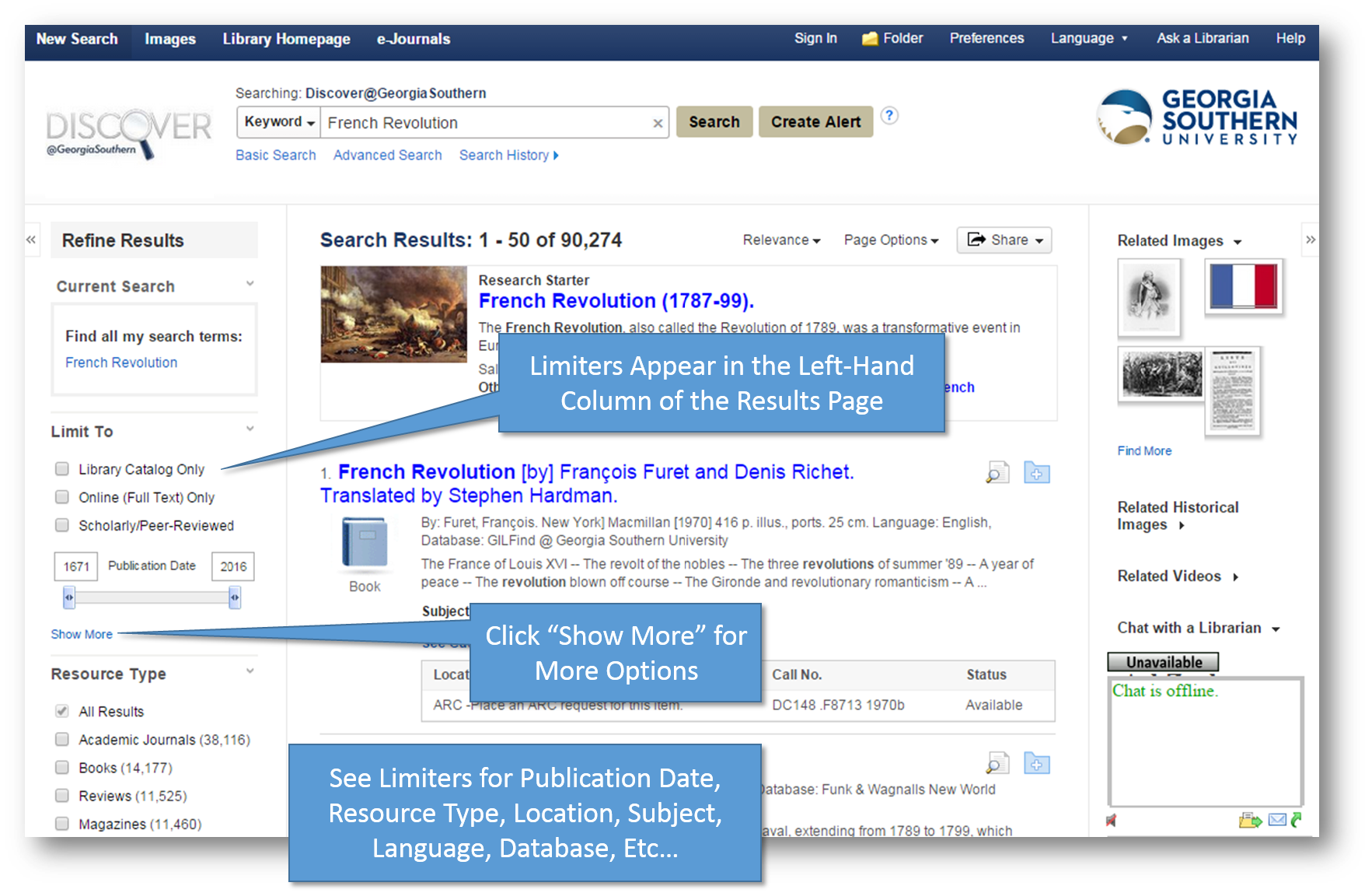 Discover Results Page and Limiter Option Callouts