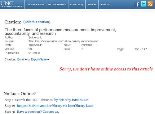 "Find@UNC ""Sorry, not online"" Screenshot"
