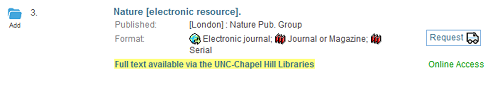 Screenshot of catalog record for Nature e-journal