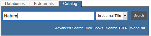 Screenshot of journal title search