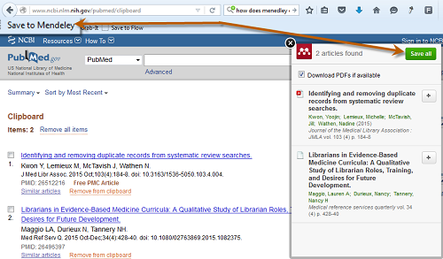 Screenshot of Save to Mendeley operation