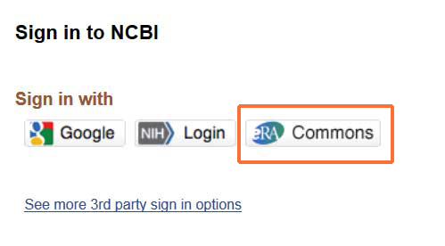 NCBI sign in with eRA Commons account
