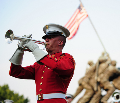 Soldier playing bugle
