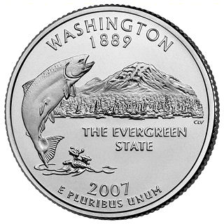 2007 Washington State quarter with a jumping fish and mt.rainier. says the evergreen state and washington 1889