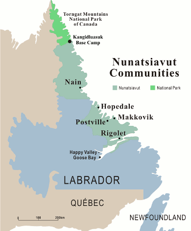 Map of Nunatsiavut communities