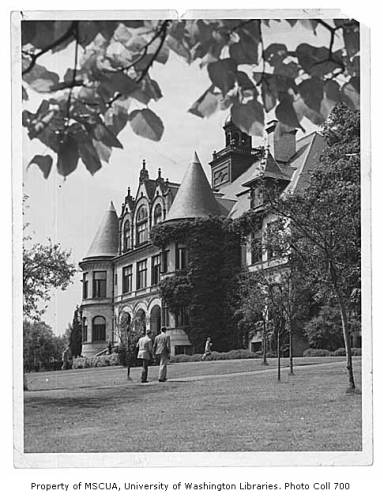 UW Denny Hall old black and white photo