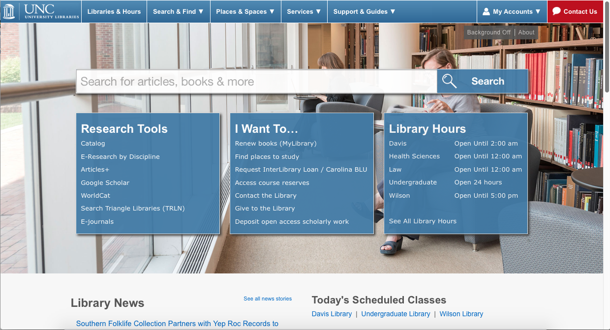 Image of UNC Chapel Hill Libraries home page