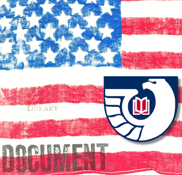"An american flag with the Federal Depository Library eagle logo in the lower right corner. It is also stamped ""Library Document"" on the left."