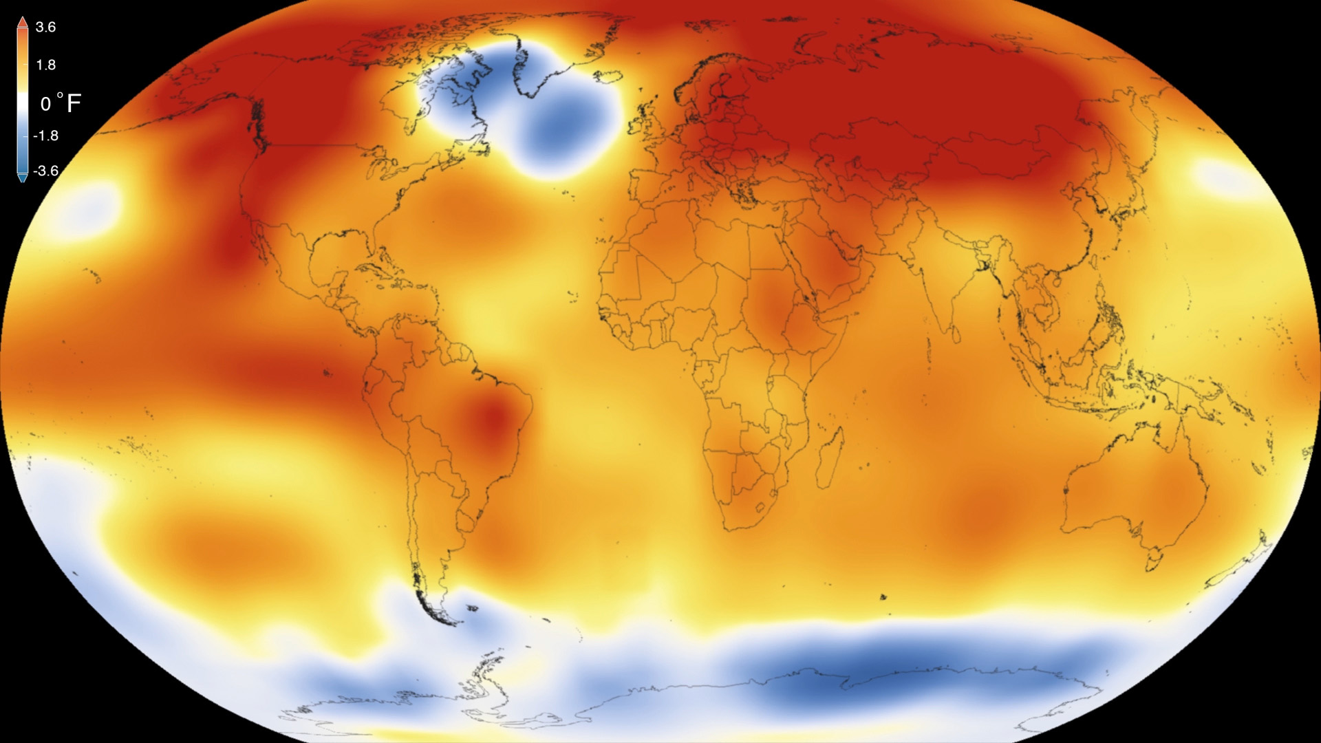A heat map of the globe showing the hottest and coolest locations. Much of the world is in red.