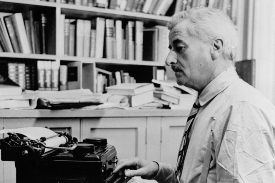 Faullkner typing at Rowan Oak
